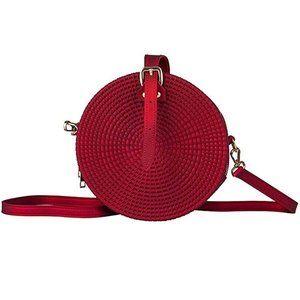 Handbags - Woven Rattan Bag Jelly Round Sling Canteen Purse